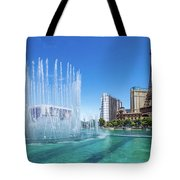 The Bellagio Fountains In Front Of The Eiffel Tower 2 To 1 Ratio Tote Bag
