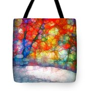 The Bench At First Snow Tote Bag