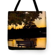 The Bench By The Lake Tote Bag by Danielle Allard