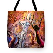 The Bible Crucifixion Tote Bag