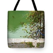 The Bicycle Is A Ubiquitous Form Of Transport In Europe And This Owner Has Literally Gone Fishing. Tote Bag