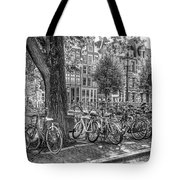 The Bicycles Of Amsterdam In Black And White Tote Bag