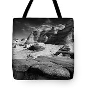 The Bisti Badlands - New Mexico - Black And White Tote Bag