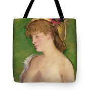 The Blonde With Bare Breasts Tote Bag