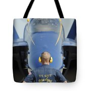 the Blue Angels waits for a signal from his pilot  Tote Bag