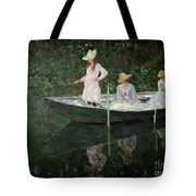 The Boat At Giverny Tote Bag by Claude Monet
