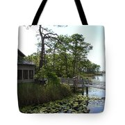 The Boathouse At Watercolor Tote Bag by Megan Cohen