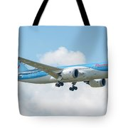The Boeing 787-8 G-tuif Landing Thomson Tui Airline Tote Bag