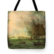 The Bombing Of Cadiz By The French  Tote Bag by Louis Philippe Crepin