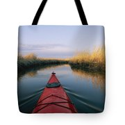 The Bow Of A Kayak Points The Way Tote Bag