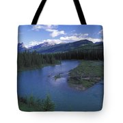 The Bow River And Castle Mountain Tote Bag