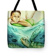 The Boy And The Turtle Tote Bag