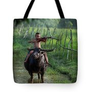 The Boy Playing The Red Violin In Thailand, Asia Tote Bag