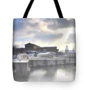 The Breaking Sun Over Philadelphia Tote Bag by Bill Cannon