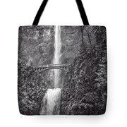 The Bridge At Multnomah Falls In Black And White Tote Bag