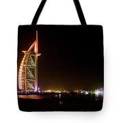The Burj Al Arab At Night Tote Bag