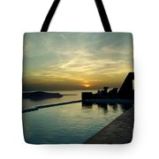 The Caldera View In Santorini Tote Bag