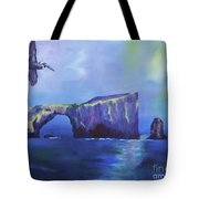 The California Brown Pelican And Acacapa Island Arch Rock Tote Bag