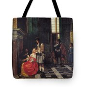 The Card Players Tote Bag by  Pieter de Hooch