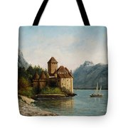 The Castle Of Chillon Evening Tote Bag by Gustave Courbet