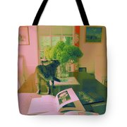The Cat And The Hydrangea Tote Bag