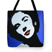 The Charming Lady In Black And White With Red Lips Tote Bag