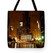 The Chicago River At Night Tote Bag