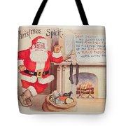 The Christmas Spirit Vintage Card Santa Next To Fireplace Tote Bag