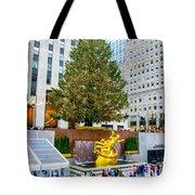 The Christmas Tree At Rockefeller Center New York City Tote Bag