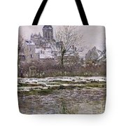 The Church At Vetheuil Under Snow Tote Bag by Claude Monet