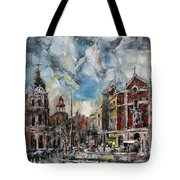 The City Touched By The Sunset Tote Bag