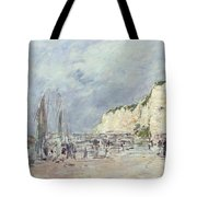 The Cliffs At Dieppe And The Petit Paris Tote Bag by Eugene Louis Boudin