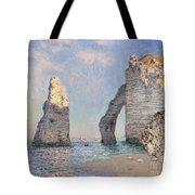 The Cliffs At Etretat Tote Bag by Claude Monet