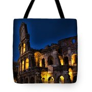 The Coleseum In Rome At Night Tote Bag by David Smith