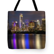 The Colorful Neon Lights On The Austin Skyline Shine Bright Tote Bag