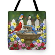 The Colors Of Spring - Bird Fountain In Flower Garden Tote Bag by Crista Forest