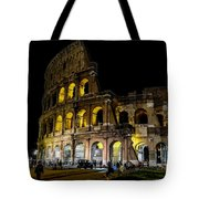 The Colosseum In Rome At Night Tote Bag