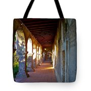 The Corridor By The Serra Chapel San Juan Capistrano Mission California Tote Bag