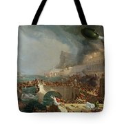 The Course Of Empire - Destruction Tote Bag by Thomas Cole