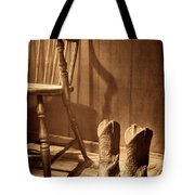 The Cowgirl Boots And The Old Chair Tote Bag