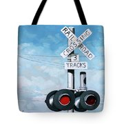 The Crossing - Train Signals Tote Bag