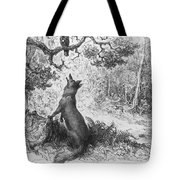 The Crow And The Fox Tote Bag by Gustave Dore