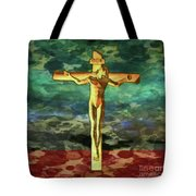 The Crucific Pop Art By Mary Bassett Tote Bag