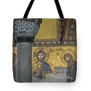 The Deesis Mosaic With Christ As Ruler At Hagia Sophia Tote Bag by Ayhan Altun