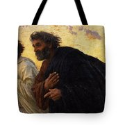 The Disciples Peter And John Running To The Sepulchre On The Morning Of The Resurrection Tote Bag by Eugene Burnand