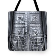 The Door At The Parthenon In Nashville Tennessee Black And White Tote Bag