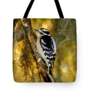 The Downy Woodpecker Tote Bag