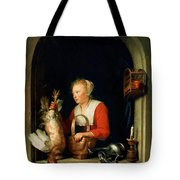 The Dutch Housewife Or The Woman Hanging A Cockerel In The Window 1650 Tote Bag
