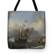 The Eendracht And A Fleet Of Dutch Men Of War Tote Bag