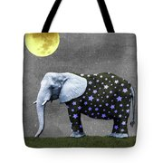 The Elephant And The Moon Tote Bag